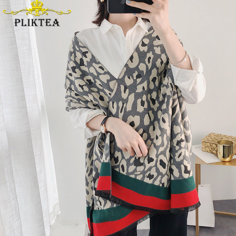 Fashion Design Luxury Leopard Women's Winter Shawl Faxu Cashmere Leopard Female Blanket Scarf Poncho Ladies Pashmina Stole Wrap