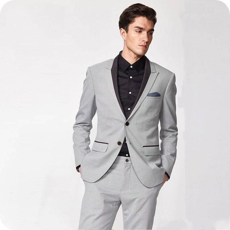 New Fashion Two Buttons Groom Tuxedos Groomsmen Peak Lapel Mens Suits Blazers (Jacket+Pants+Tie)