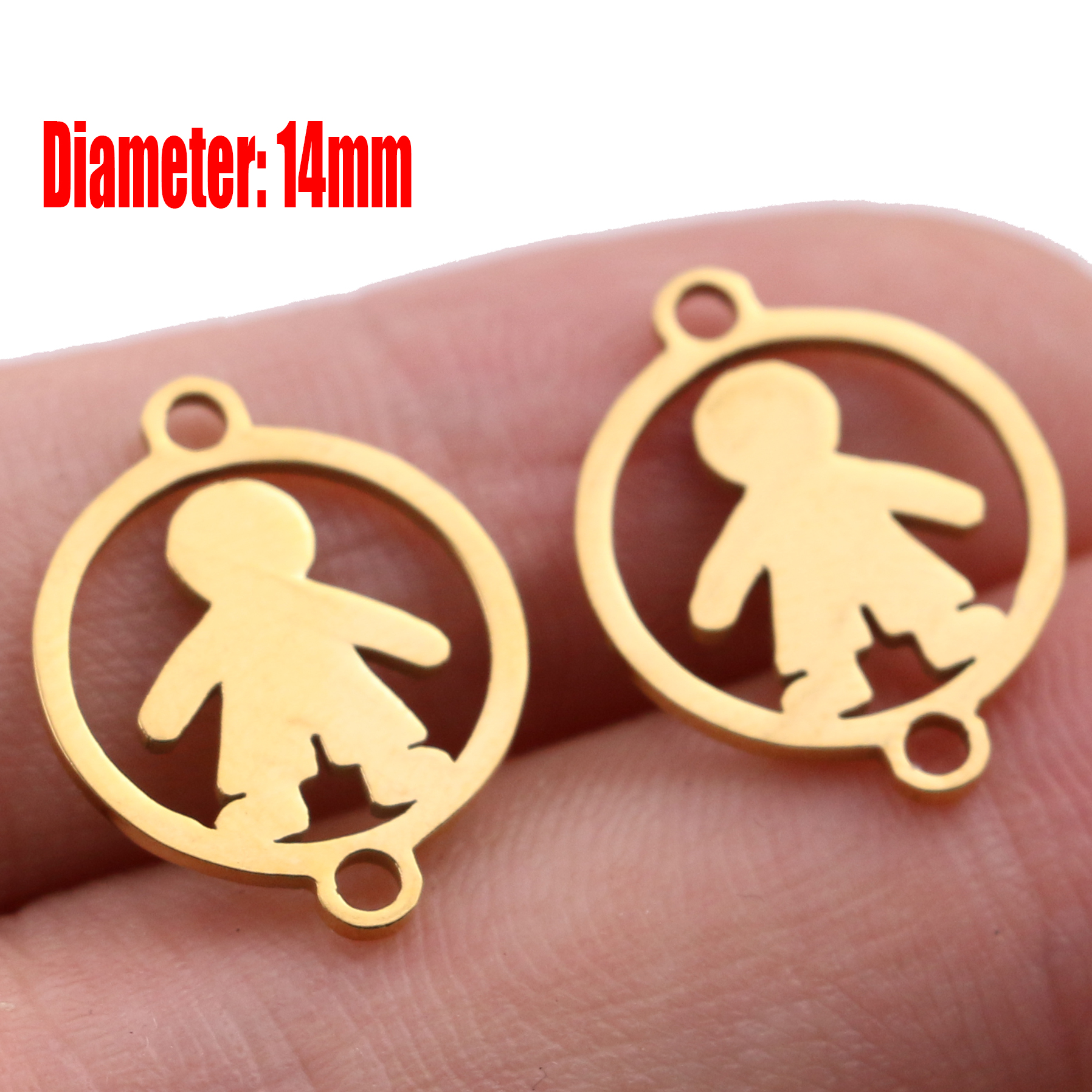 5pcs Family Chain Stainless Steel Pendant Necklace Parents and Children Necklaces Gold/steel Jewelry Gift for Mom Dad New Twice - Цвет: Gold 23