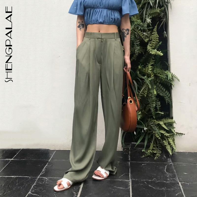 SHENGPALAE Maxi Pants For Women High Waist Zipper Pocket Summer Big Large Size Long Trousers 2019 Fashion Elegant Clothing FU047