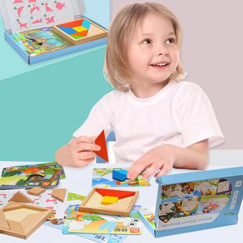 Tangram puzzle children wood toy Educational puzzle set,early education jigsaw puzzle+15 double-sided templates geometric puzzle фото