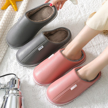 Cotton Slippers Fur Floor Wood Female Winter PU Couple And Autumn New-Style Simple Home