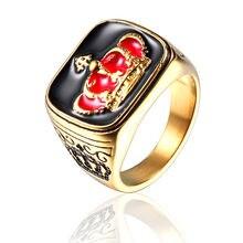 Мужское Винтажное кольцо из титановой нержавеющей стали золотистое