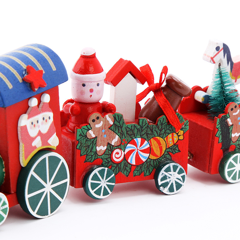 Wooden Cartoon Santa Claus Train Car Toy For Kid Girls Boys Gifts Christmas Toys
