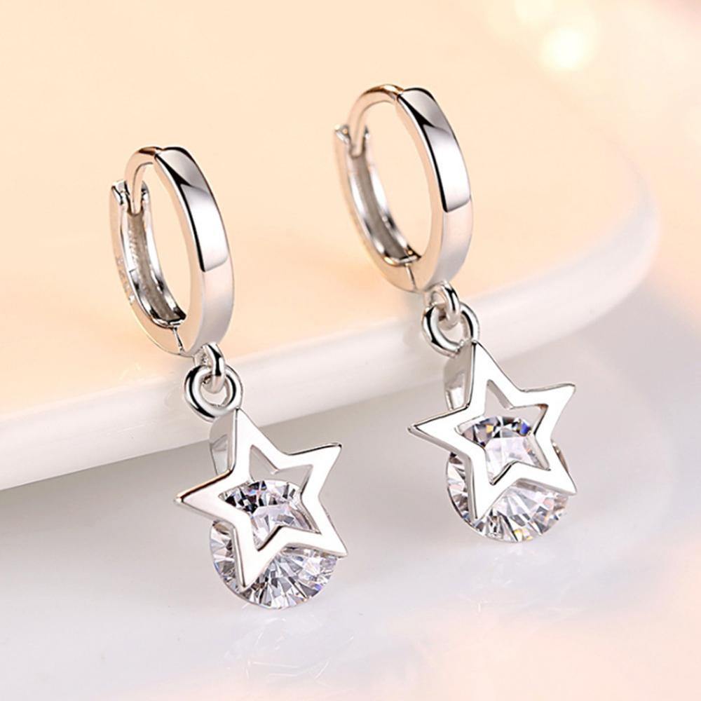 925 Sterling Silver Crystal Star Charm Stud Earrings For Women Grils Kids Wedding Gift Female Pendientes Mujer Moda Eh1417