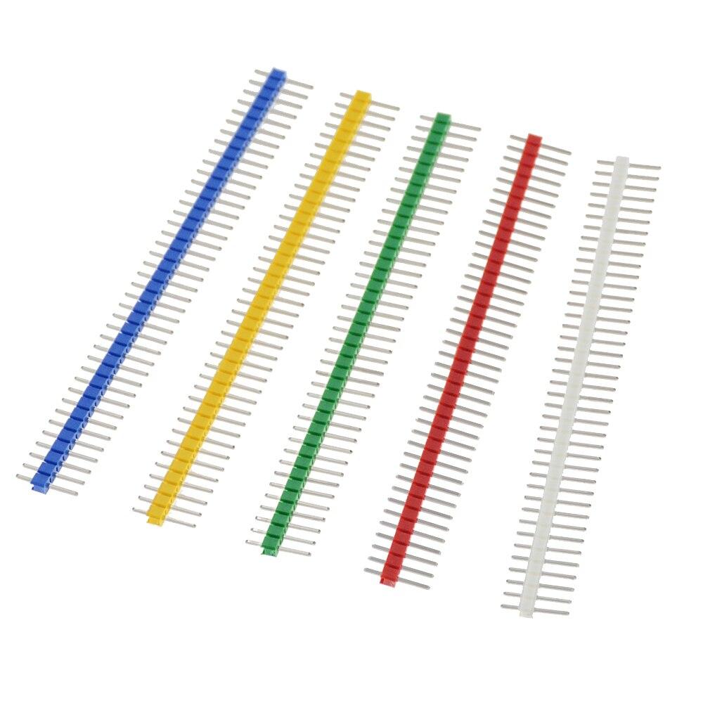 10PCS 3A 핀 커넥터 남성 2.54mm 피치 핀 헤더 스트립 단일 행 40 핀 커넥터 키트 PCB 보드 40Pin 1x40P 깨지기 쉬운