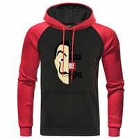 La casa de papel hoodies traje rosto moletom raglan pulôver masculino a casa de papel com capuz masculino outono agasalho streetwear