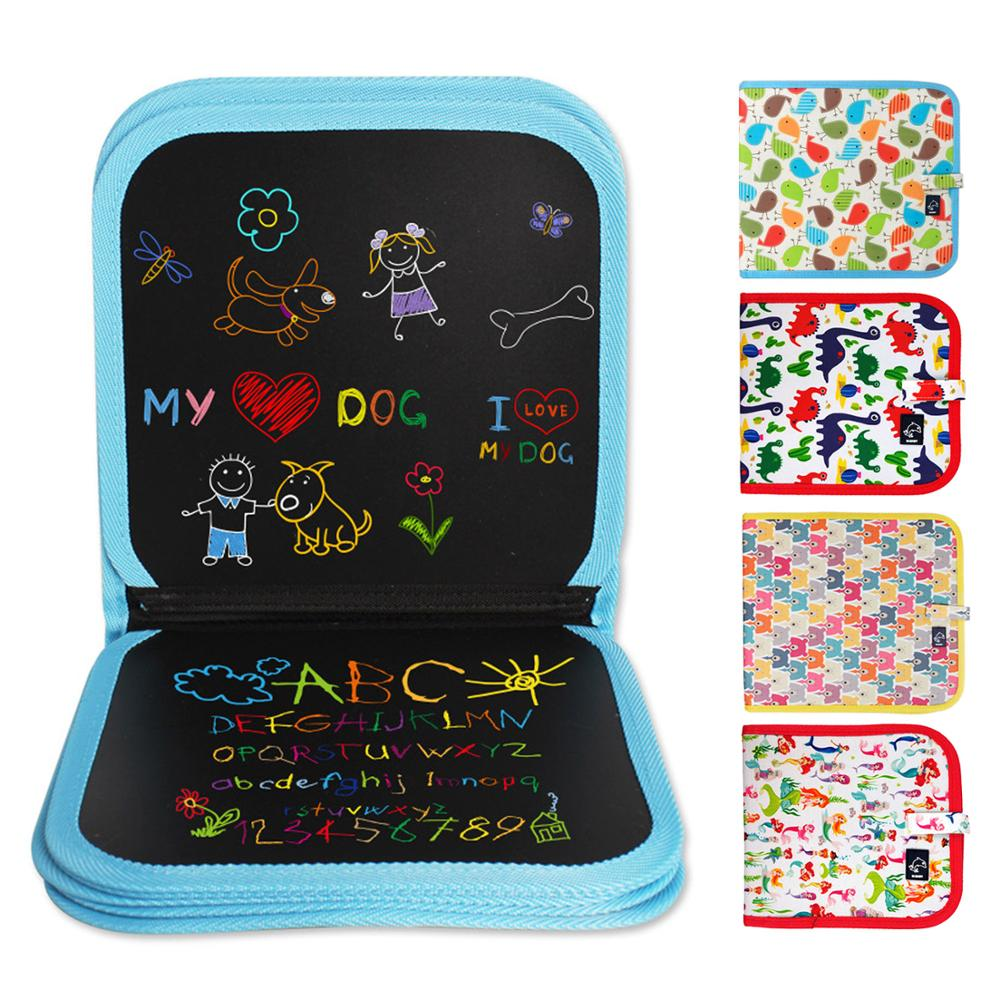 Kids Portable Cartoon Erasable Drawing Sketch Pad Chalk Board Book Doodle Coloring Graffiti Painting Books With Pens Wipe Toy