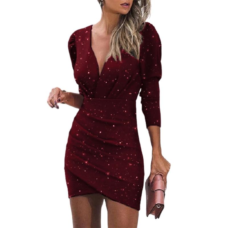 Movokaka Nightclub Dress Women 2020 eleganti abiti a maniche lunghe per donna abiti Slim da festa abito da donna con stampa digitale