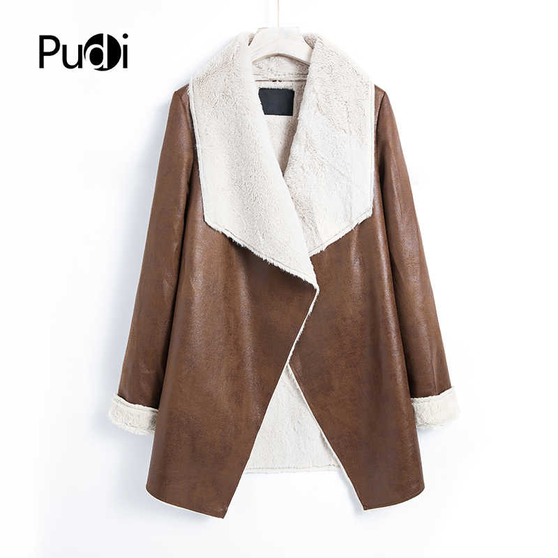 Pudi women casual jacket  2019 autumn spring female ong coat overcoats brown black color QY01