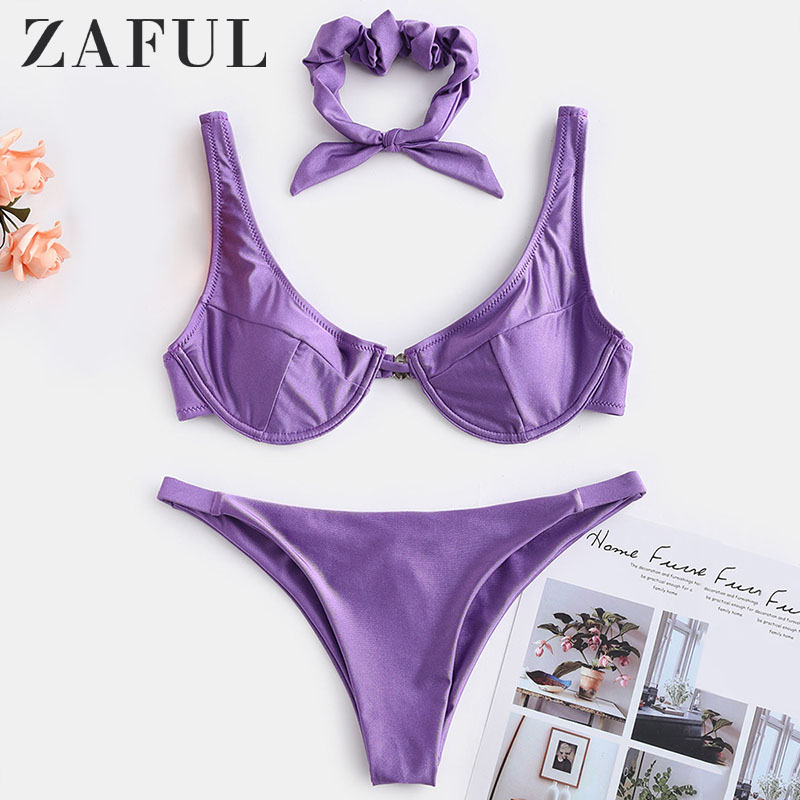 ZAFUL Shiny Underwire Bikini Set With Hair Band Padded Solid Women Bathing Suit Low Waisted Push Up Swimsuit Sexy Swimwear 2019