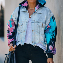 Jackets-Coats Denim Jean Long-Sleeve Printed Thick Autumn Women for Hooded Tassel-Tie