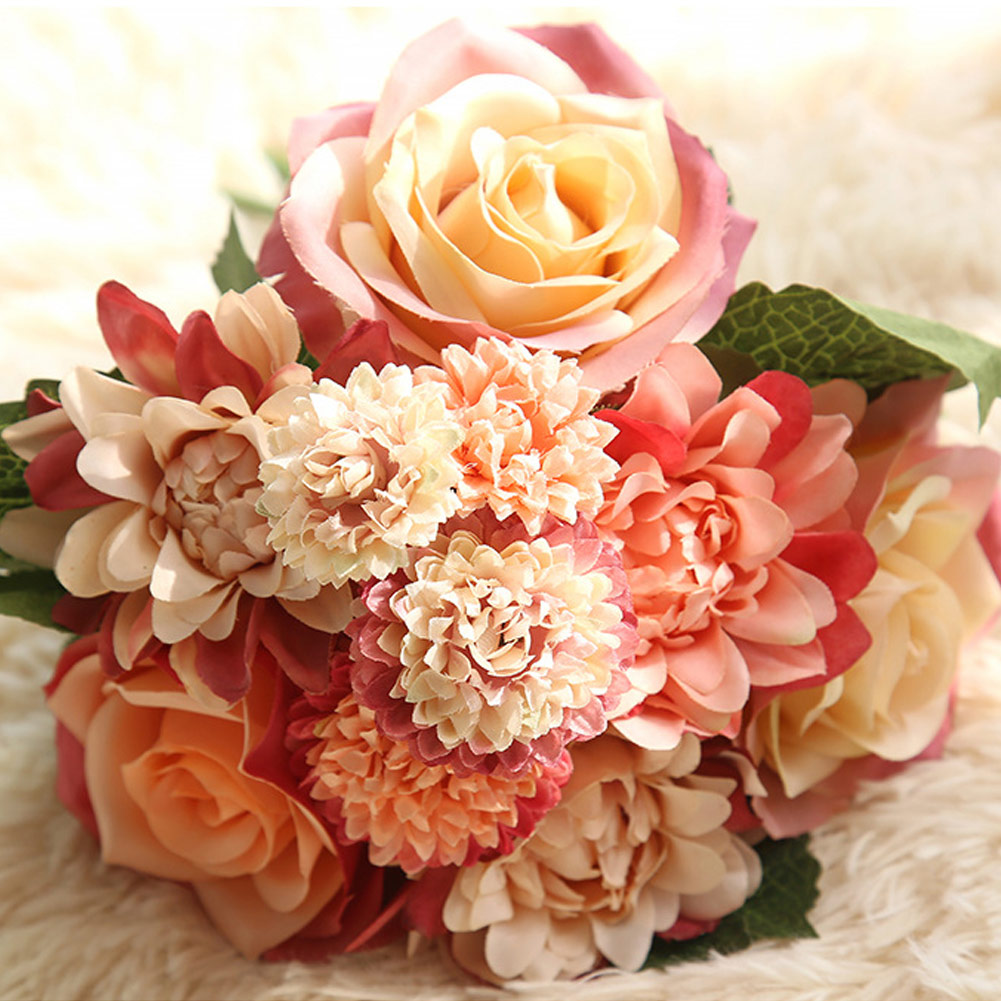1 Bunch Rose Dahlia Artificial Flowers Silk Real Touch Fake Flower Bridal Bouquet for Wedding Decoration Home Garden Decor Flora
