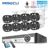 MISECU 8CH Super HD 5MP Security CCTV System Human detection Metal Waterproof Outdoor AI Camera Two way Audio Video Surveillance