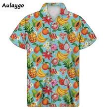 цена на Hawaiian Shirt Tropical Fruit Printed Men's Shirt Short Sleeve Turn-down Collar Thin Breathable Shirt For  Men Big And Tall