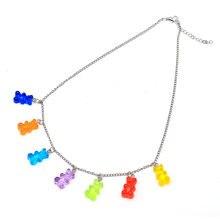 2020 popular gummy bear na moda colar rainbow chain designer womens doce gummy bear colar de jóias baratas com frete grátis