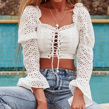 KHALEE YOSE Sexy White Crop Top Shirt Summer Eyelet Women White Blouses Lace Up Square Neck Flare Sleeve Blouse Cropped Top 2019 side lace up cropped long sleeve top