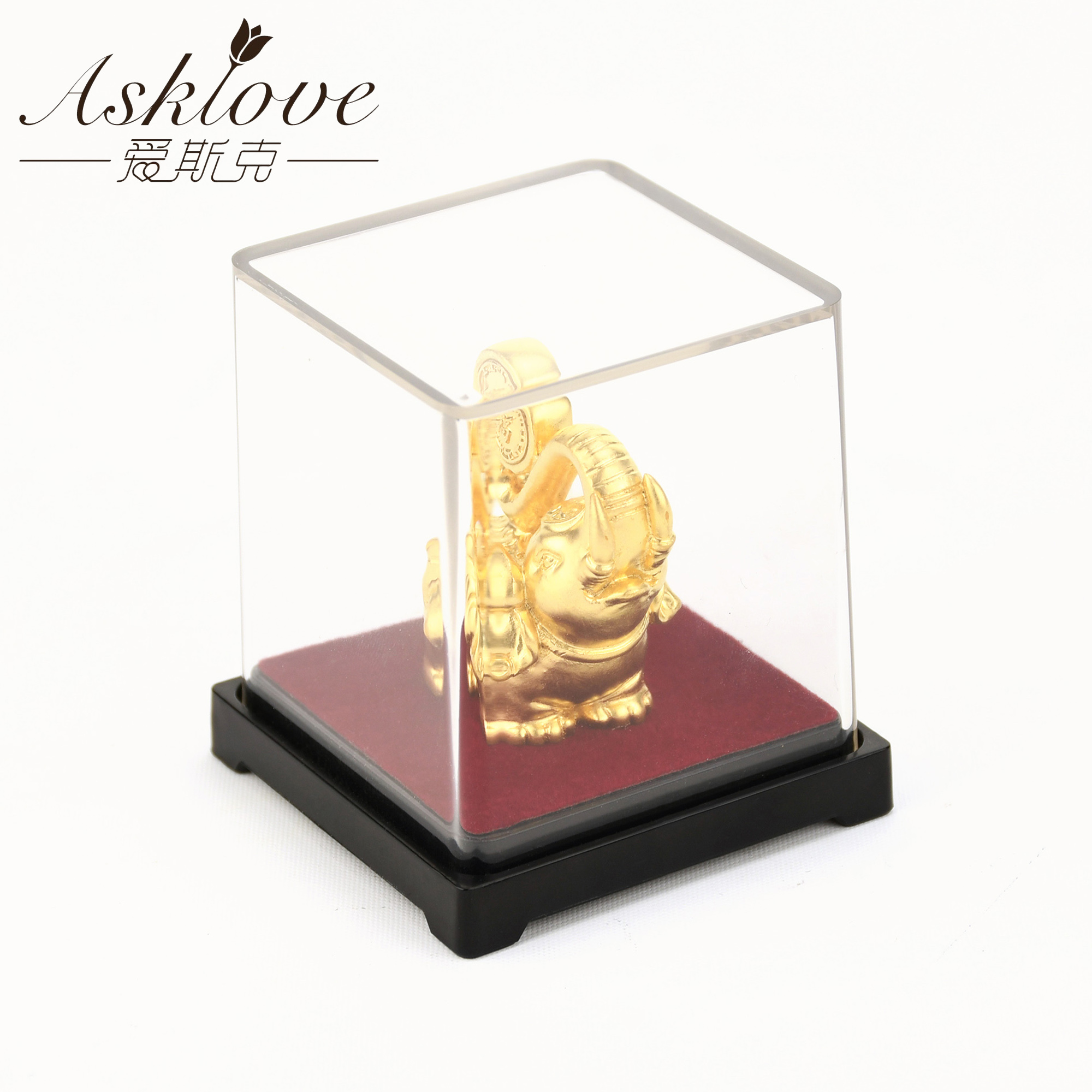 Image 2 - Lucky Elephant Feng Shui decor 24K Gold Foil Elephant Statue Figurine Office Ornament Crafts Collect Wealth Home Office DecorFigurines & Miniatures   -