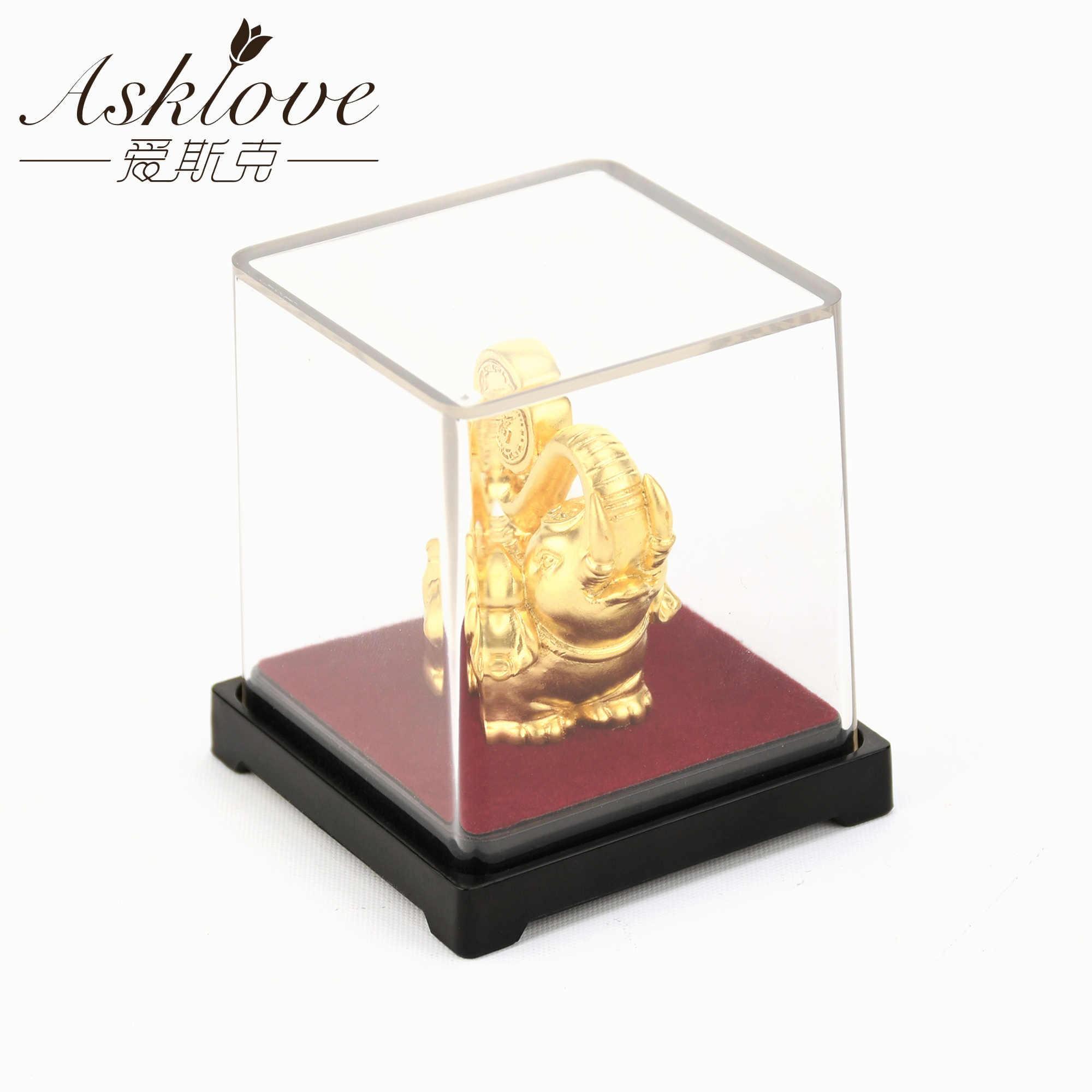 Słoń przynoszący szczęście Feng Shui decor 24K złota folia słoń statua figurka ozdoba biurowa rzemiosło zbieraj bogactwo dekoracje do domowego biura