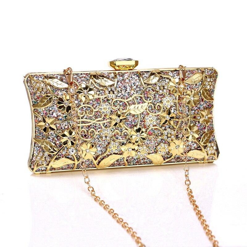 2019 mariée en métal embrayage Floral sac femmes cristal or sac de soirée de mariage sacs à main sac à main dame diamant strass embrayages - 4