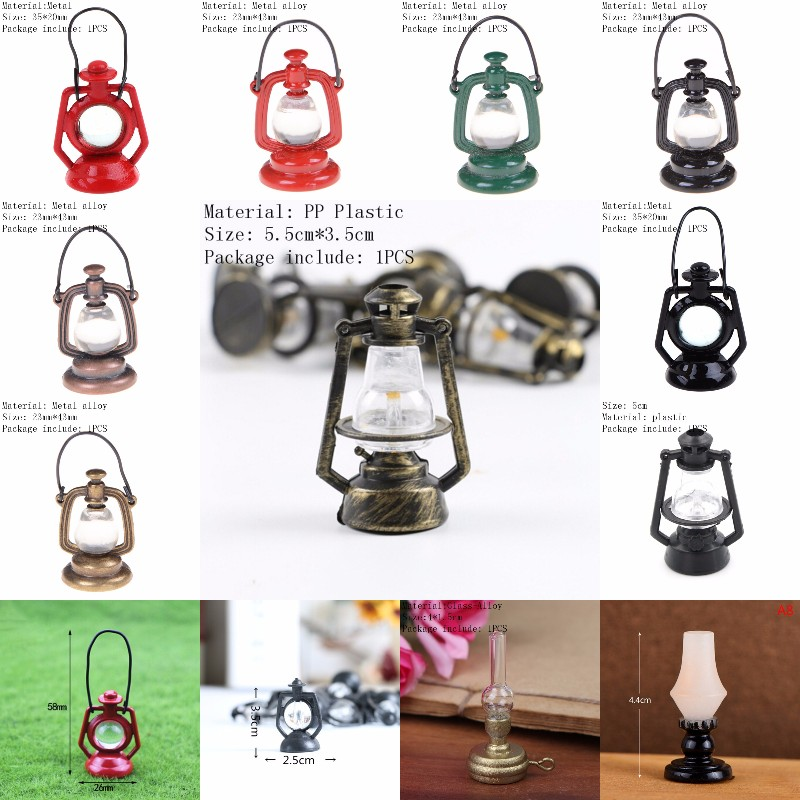 Doll House Miniature Dollhouse Accessories 1:12 Fashion Miniature Dollhouse Oil Lamp Vintage Lamp Dollhouse Lighting Accessori