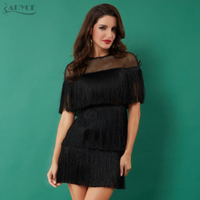 Adyce 2020 Summer Black Tassels Celebrity Evening Party Dress Women Black Short Sleeve Mesh Sexy Hollow Out Fringe Club Dresses