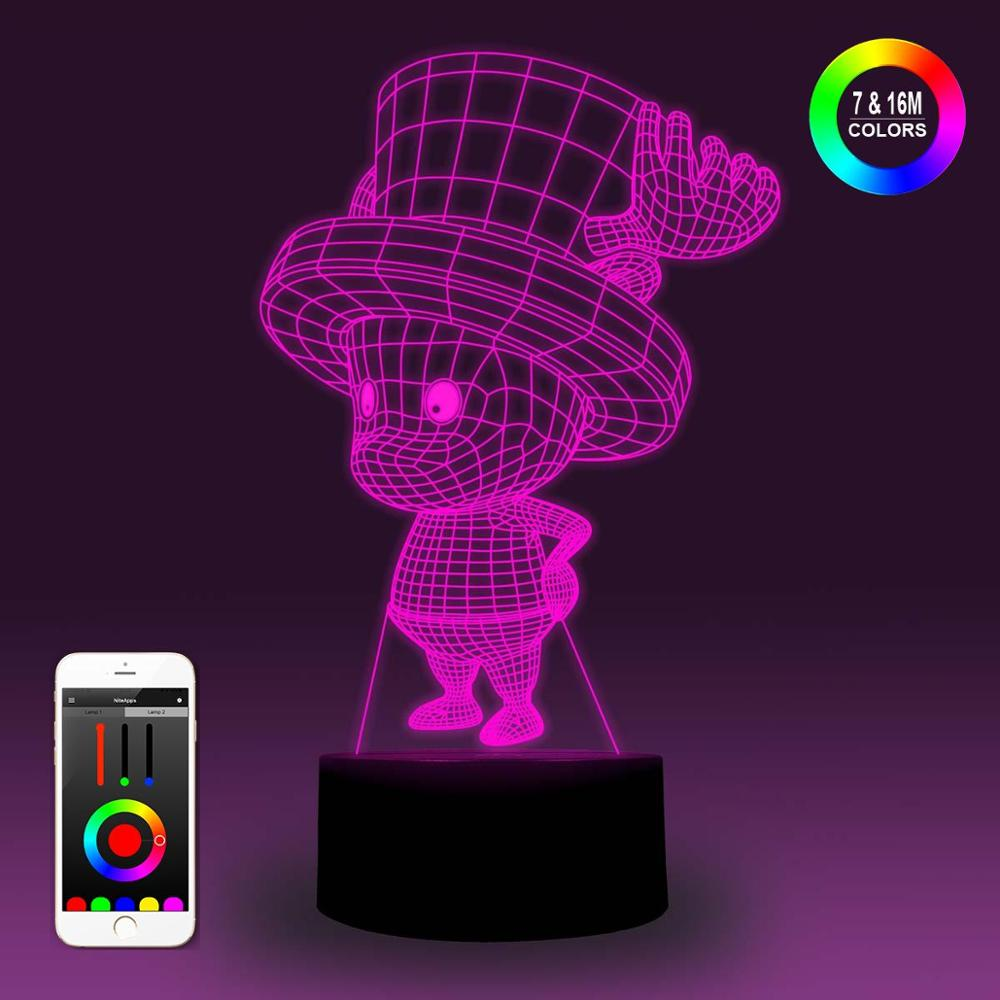 NiteApps 3D One Piece Tony Chopper Night Light Desk Table Illusion Lamp Holiday Birthday Gift APP/Touch Control