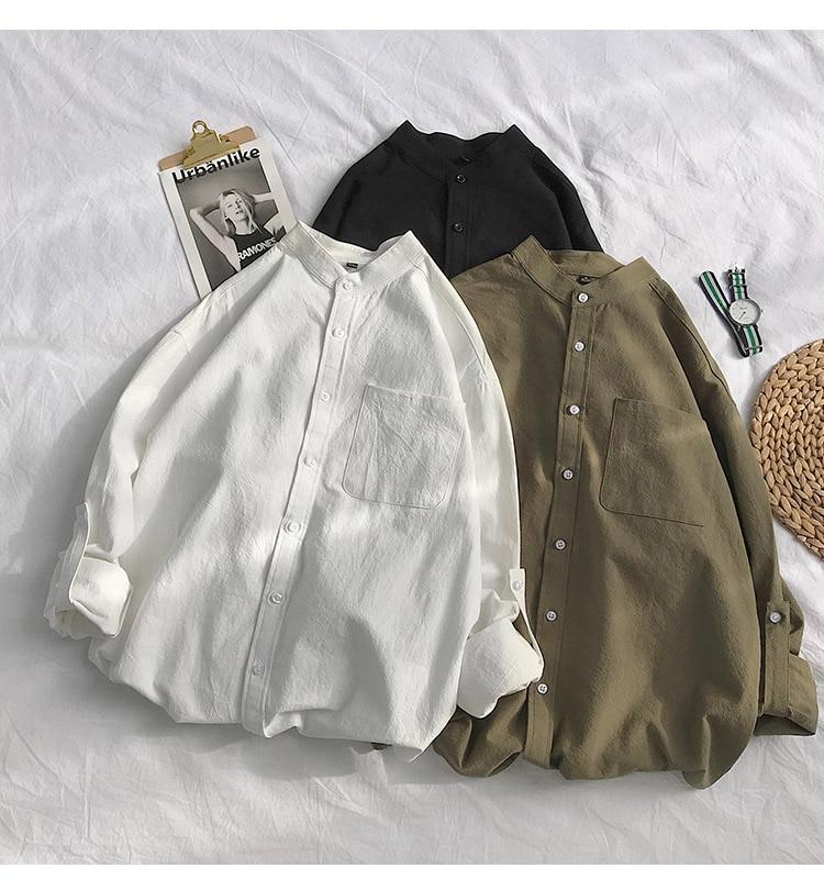 H30db6d62d4d7404e8abf05857b4dc256e Simple Design Solid Colors Long Sleeve Shirts Korean Fashion Mandarin Collar 100% Cotton White Black Shirt Soft and Comfort