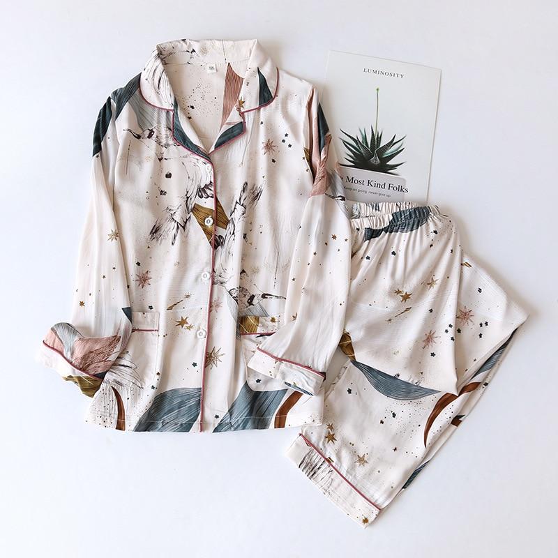 Пижама женская, длинная, из 100% хлопка, с длинным рукавом, на весну/лето 2020 Комплекты пижам      АлиЭкспресс
