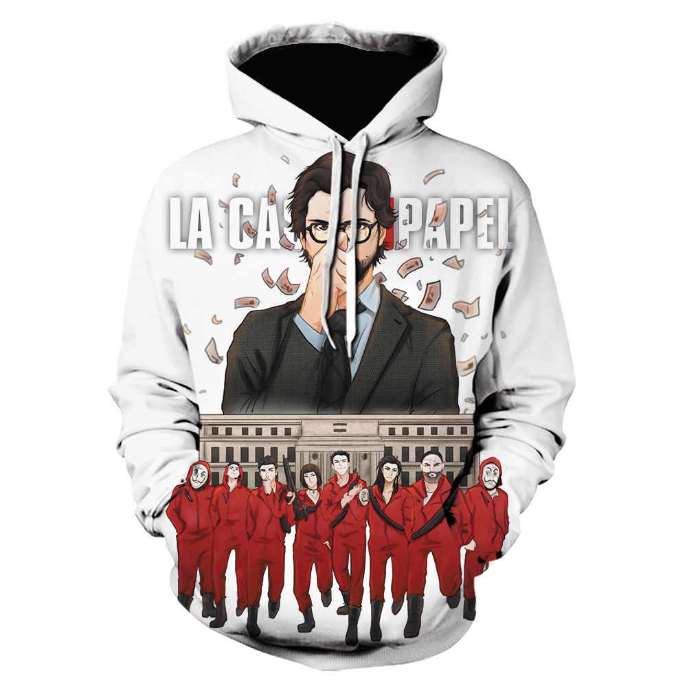 Cosplay Kostüme La Casa De Papel 3D Gedruckt Mit Kapuze Sweatshirts TV Serie Pullover Männer/Frauen Mode Lässig Haus von papier