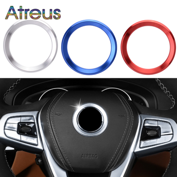 Aluminium Trim Car Steering Wheel Cover Logo Ring Sticker For BMW E60 E90 E92 E46 E36 E39 F30 F10 F20 F21 E81 E87 E91 E93 F31 image