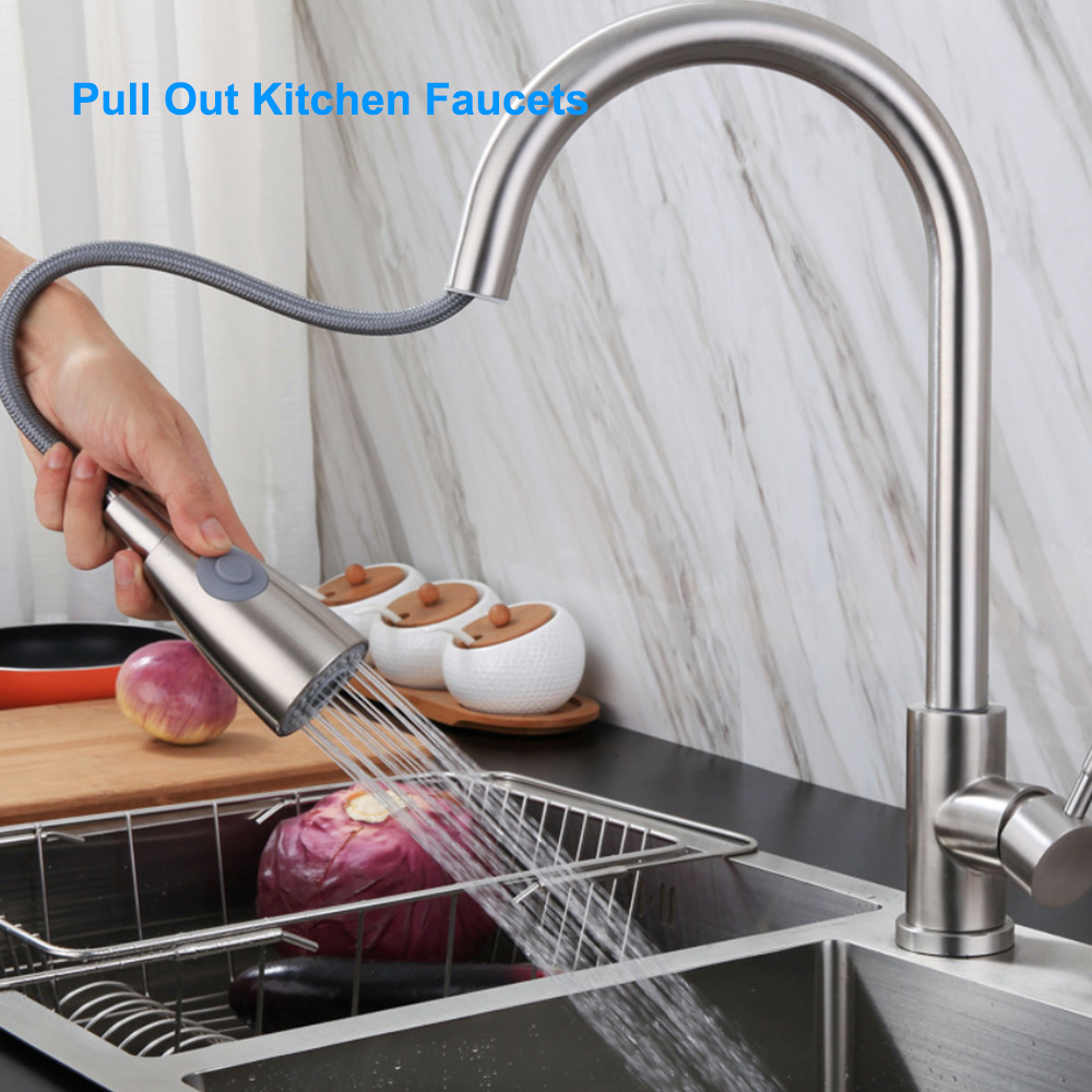 Kitchen-Faucets Sprayer Water-Tap Sink Bathroom-Basin Pull-Out Rotating Stainless-Steel