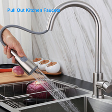 Pull Out Kitchen Faucets with Sprayer Bathroom Basin Sink Faucets 2 Spraying Modes 360° Rotating Stainless Steel Water Tap