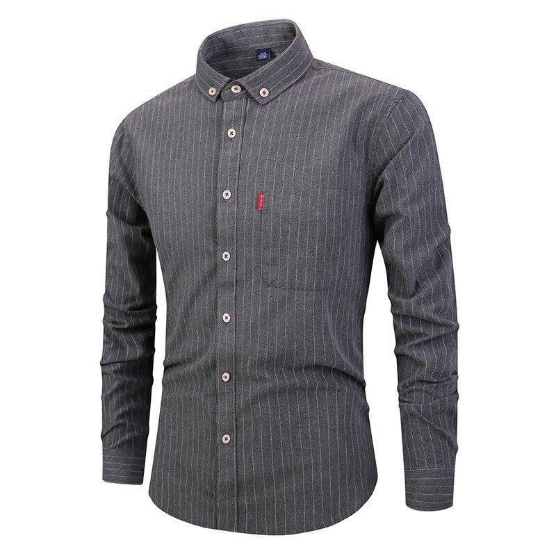 Хит продаж, Новинка осени 2019, полосатая рубашка с длинным рукавом, Повседневная тонкая рубашка с отворотом, открытая Мужская одежда, рубашки