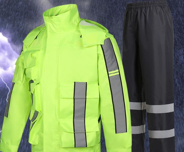 Adult Raincoat Rain Pants Suit Split Reflective Cycling Motorcycle Electric Car