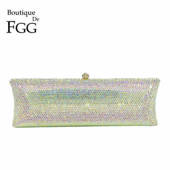 Boutique De FGG Elegant Silver AB Women Crystal Evening Purses and Handbags Hard Case Diamond Wedding Clutch Minaudiere Bag - Category 🛒 Luggage & Bags
