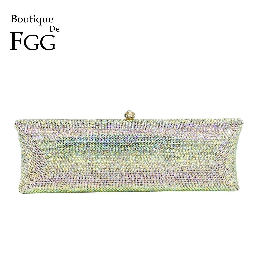 Boutique De FGG eleganckie srebrny AB kobiety kryształ wieczór torebki i torebki twardy futerał diamentowe wesele sprzęgła Minaudiere torba w Torby z uchwytem od Bagaże i torby na  Grupa 1