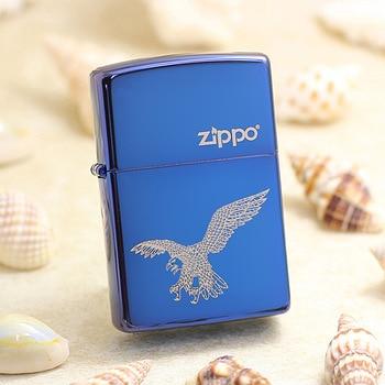 Genuine Zippo oil lighter copper windproof Blue ice mirror Eagle cigarette Kerosene lighters Gift With anti-counterfeiting code