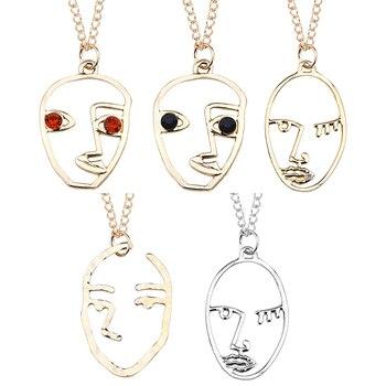 Cara abstracta ahueca hacia fuera el collar para las mujeres niñas femenino Palma Crystal Eyes colgante collares joyería artística regalos joyería femenina Bijoux
