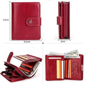 Image 5 - İletişim küçük cüzdan kadın hakiki deri kadın çile kısa bozuk para çantaları Rfid kart tutucu kadınlar için cüzdan carteira masculina