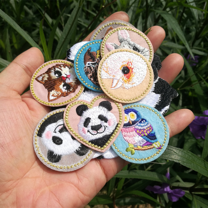 Boutique Embroidery Panda Rabbit Cat Child Cute Animal Badge Cloth Stickers Clothes Diy Patch Decoration Accessories