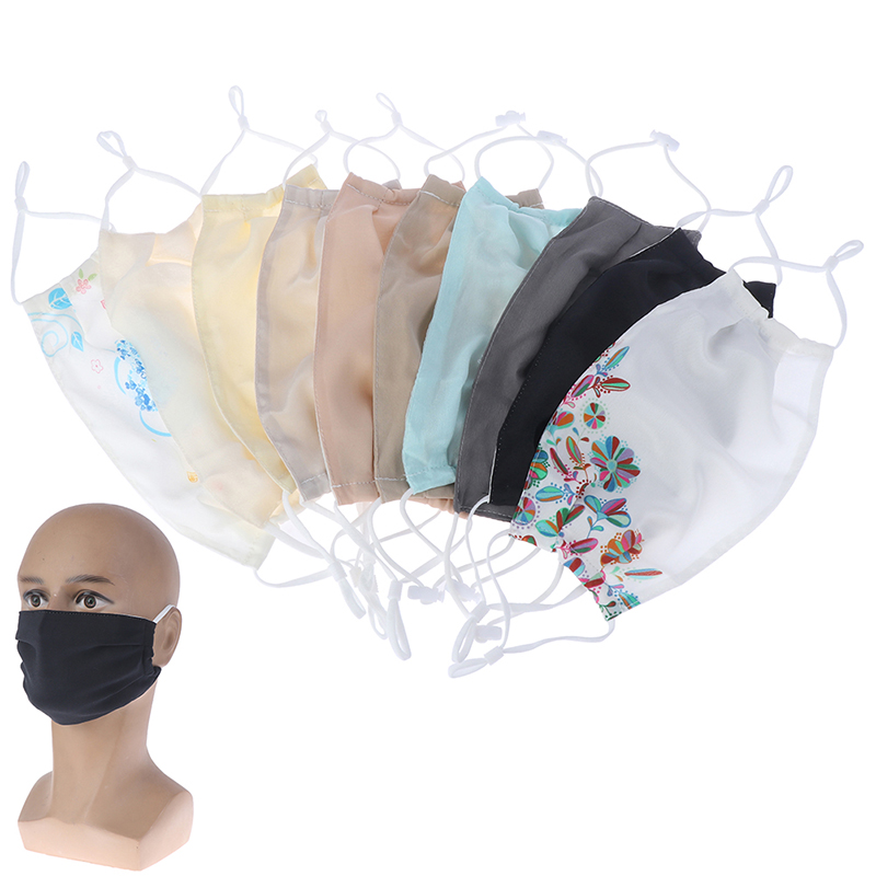 Women's Spring Summer Flower Print Thin Imitate Silk Mask Female Summer Sunscreen PM 2.5 Breathable Silk Mouth-muffle