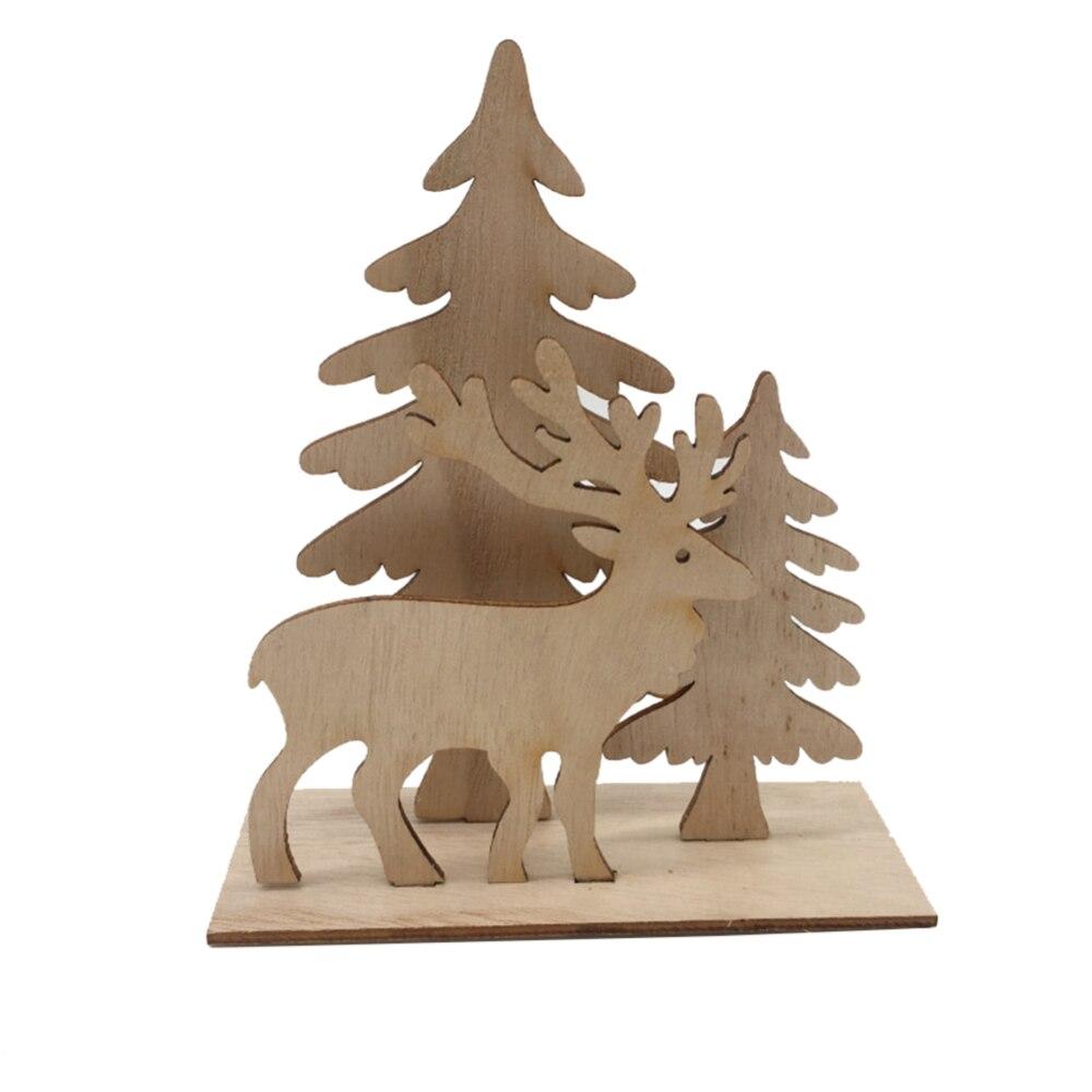 Adornos de árbol de Navidad de alce de madera de Año Nuevo manualidades Decoración de mesa decoración de Hotel Celebración de Navidad decoración para el hogar - 2