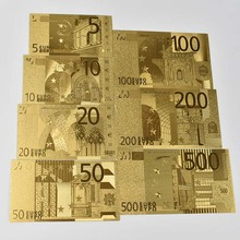7 Sheets/Sets Gold Foil Art Creativity Collection  Euro Banknotes Commemorative Notes Decoration 5 10 20 50 100 200 500 EUR Coll
