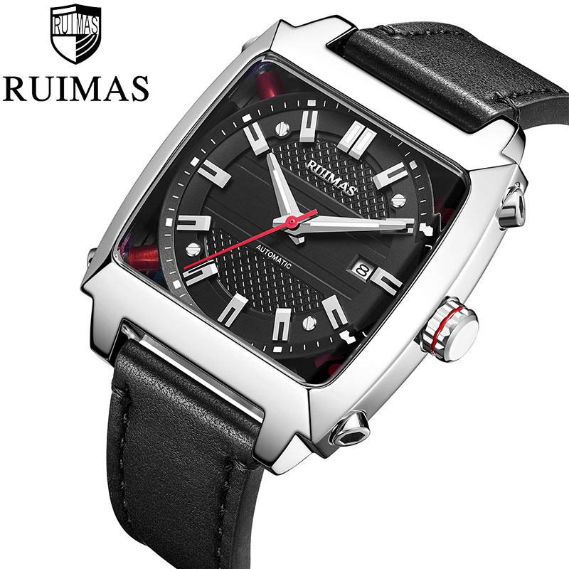 RUIMAS Automatic Mechanical Watch Top Luxury Brand  Men Leather Strap Luminous 5ATM Waterproof Wristwatch Clock Montre Mechanical Watches     - title=