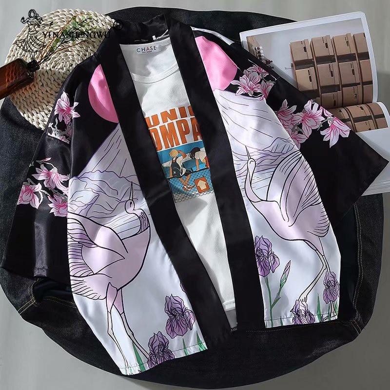 Japanese Kimonos Cartoon Character Print Cardigan Harajuku Loose Kimono Blouses Feminino Outerwear Shirts Women Man Coats Yukata