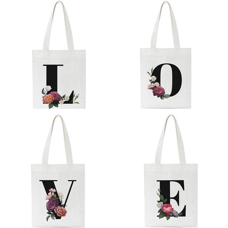 Summer New Letter Love Print Shoulder Canvas Bags Street Joker Friends Women Bag Large Casual Messenger Bag Korean Harajuku Tote