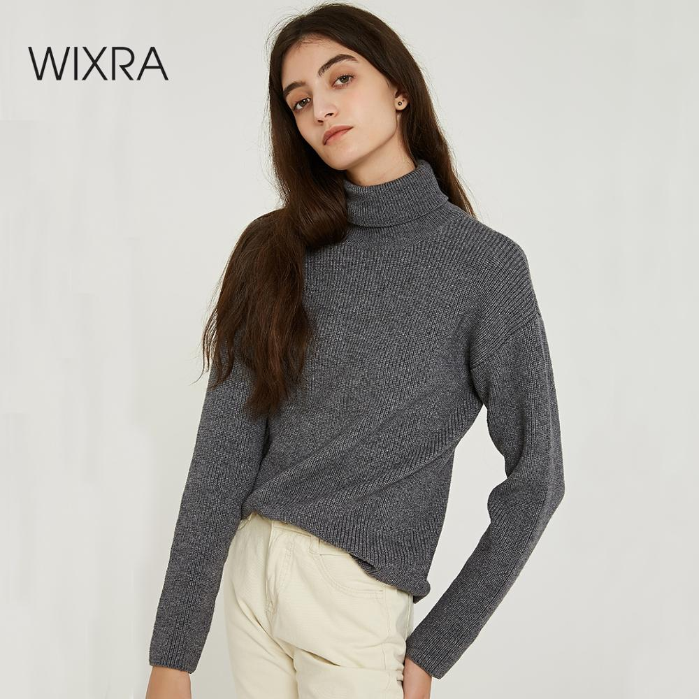 Wixra Women Sweaters 2019 Autumn Winter Must Have Solid Turtleneck Basic Knitted Sweater Pullovers Women's Jumpers