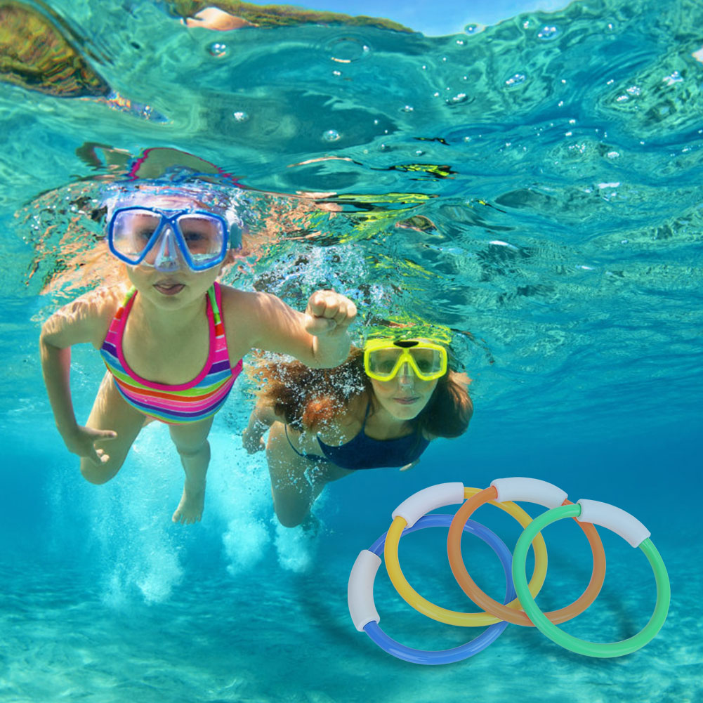 Puseky 4pcs Diving Game Toys Set Dive Underwater Swimming Pool Gift For Kids Summer Diving Ring Toy