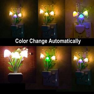 Image 2 - לילה אור 7 צבע שינוי חשכה לשחר חיישן LED לילה אורות פרח פטריות מנורת שינה Babyroom מנורות לילדים מתנות